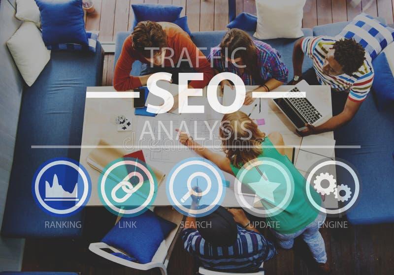 Έννοια Διαδικτύου πληροφοριών βελτιστοποίησης SEO μηχανών αναζήτησης στοκ φωτογραφία