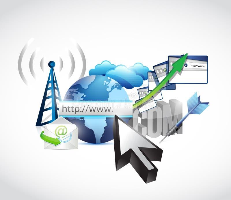 Έννοια Διαδικτύου τεχνολογίας ηλεκτρονικού εμπορίου διανυσματική απεικόνιση