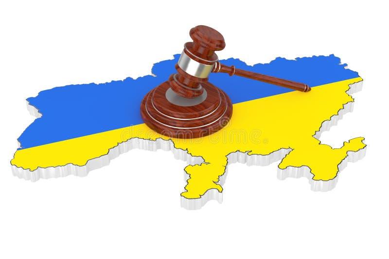 Έννοια δικαιοσύνης της Ουκρανίας Ξύλινο Gavel δικαιοσύνης με Soundboard Ov διανυσματική απεικόνιση