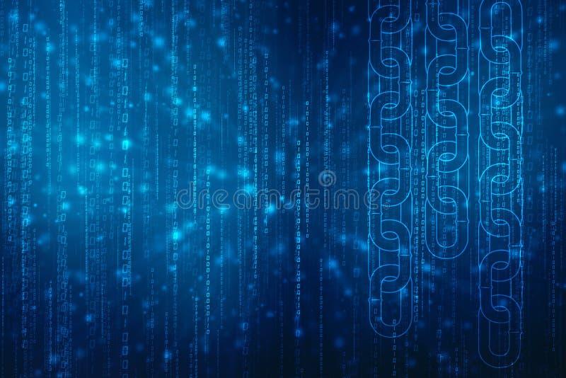 Έννοια δικτύων αλυσίδων φραγμών στο υπόβαθρο τεχνολογίας, έννοια αλυσίδων φραγμών, ψηφιακή τεχνολογία αλυσίδων φραγμών Έννοια Cry στοκ εικόνες