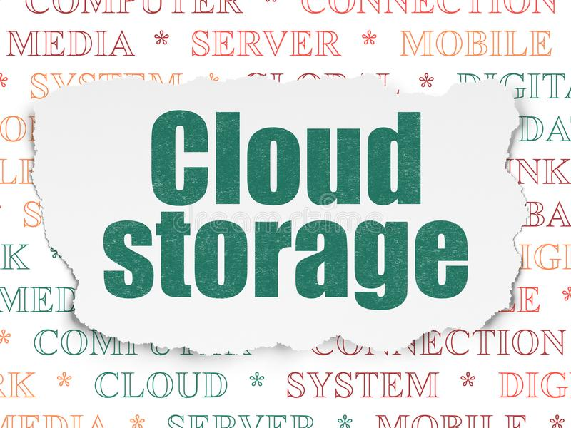 Έννοια δικτύωσης σύννεφων: Αποθήκευση σύννεφων στο σχισμένο υπόβαθρο εγγράφου απεικόνιση αποθεμάτων