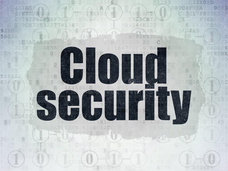 Έννοια δικτύωσης σύννεφων: Ασφάλεια σύννεφων στο υπόβαθρο εγγράφου ψηφιακών στοιχείων απεικόνιση αποθεμάτων