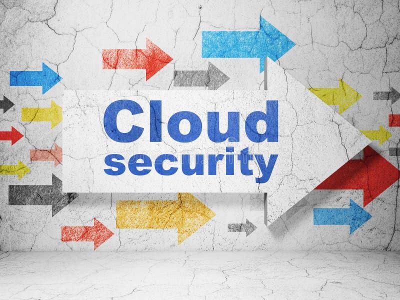 Έννοια δικτύωσης σύννεφων: βέλος με την ασφάλεια σύννεφων στο υπόβαθρο τοίχων grunge διανυσματική απεικόνιση