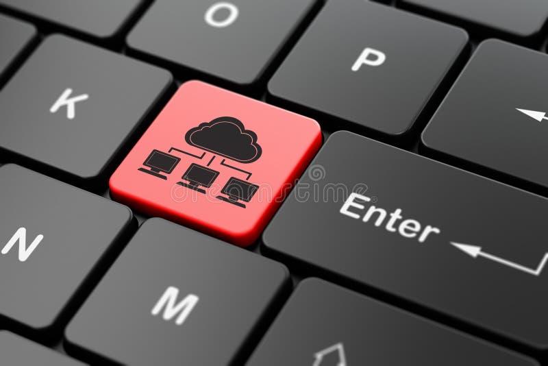 Έννοια δικτύωσης σύννεφων: Δίκτυο σύννεφων στο υπόβαθρο πληκτρολογίων υπολογιστών διανυσματική απεικόνιση