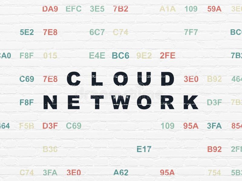 Έννοια δικτύωσης σύννεφων: Δίκτυο σύννεφων στο υπόβαθρο τοίχων απεικόνιση αποθεμάτων