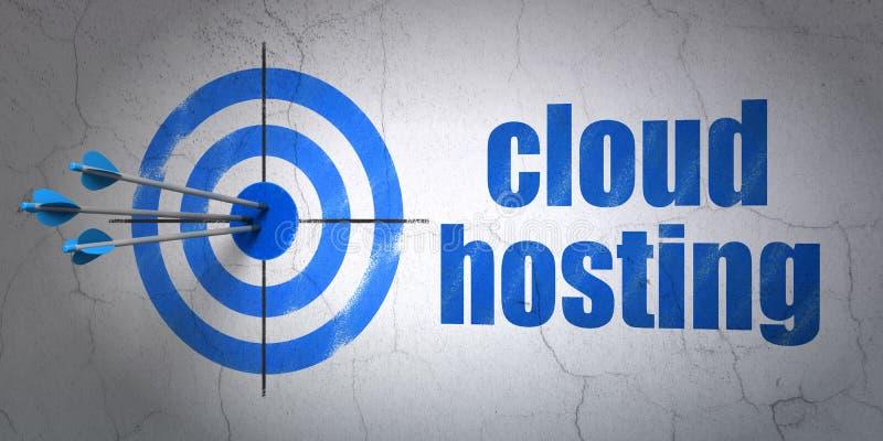 Έννοια δικτύωσης σύννεφων: στόχος και φιλοξενία σύννεφων στο υπόβαθρο τοίχων διανυσματική απεικόνιση