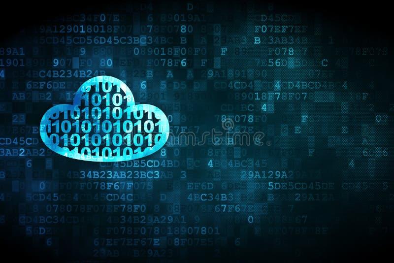 Έννοια δικτύωσης σύννεφων: Σύννεφο με τον κώδικα στο ψηφιακό υπόβαθρο απεικόνιση αποθεμάτων