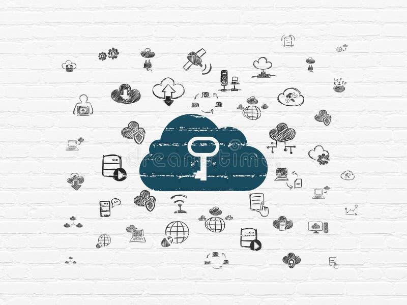 Έννοια δικτύωσης σύννεφων: Σύννεφο με το κλειδί στο υπόβαθρο τοίχων απεικόνιση αποθεμάτων