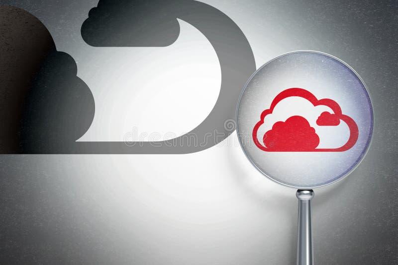 Έννοια δικτύωσης σύννεφων: Σύννεφο με το οπτικό γυαλί στο ψηφιακό υπόβαθρο διανυσματική απεικόνιση