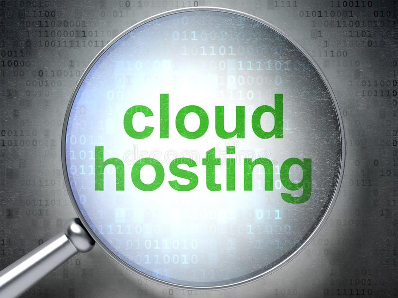 Έννοια δικτύωσης σύννεφων: Φιλοξενία σύννεφων με το οπτικό γυαλί απεικόνιση αποθεμάτων