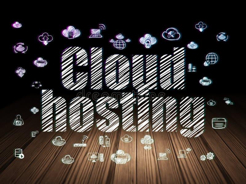 Έννοια δικτύωσης σύννεφων: Φιλοξενία σύννεφων στο σκοτεινό δωμάτιο grunge ελεύθερη απεικόνιση δικαιώματος