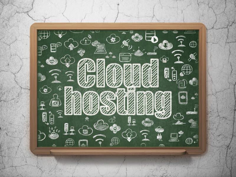 Έννοια δικτύωσης σύννεφων: Φιλοξενία σύννεφων στο υπόβαθρο σχολικών πινάκων απεικόνιση αποθεμάτων