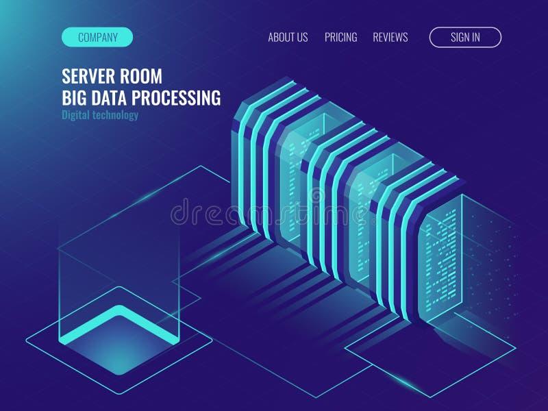Έννοια δωματίων κεντρικών υπολογιστών σύννεφων, κέντρο δεδομένων, που επεξεργάζεται τα μεγάλα στοιχεία, τη διαδικασία δικτύωσης,  διανυσματική απεικόνιση