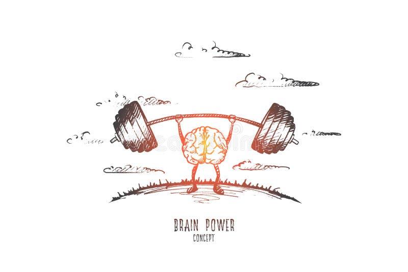 Έννοια δύναμης εγκεφάλου Συρμένο χέρι απομονωμένο διάνυσμα διανυσματική απεικόνιση