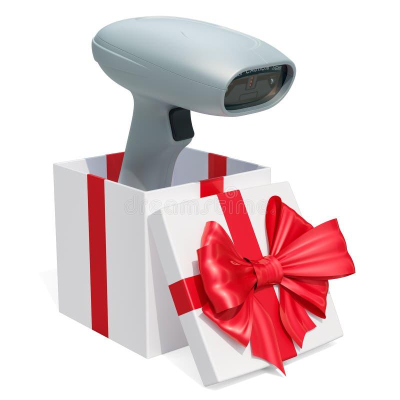 Έννοια δώρων, αναγνώστης κώδικα φραγμών μέσα στο κιβώτιο δώρων τρισδιάστατη απόδοση απεικόνιση αποθεμάτων