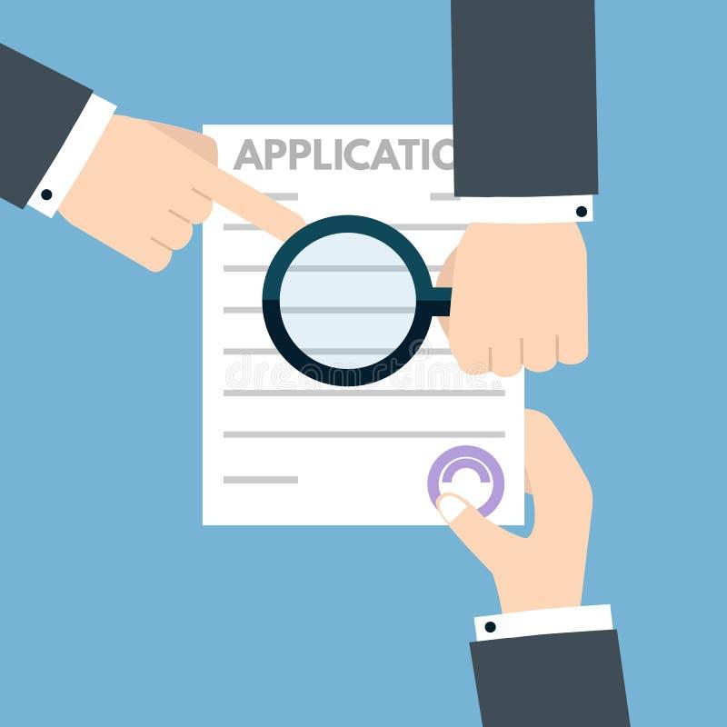Έννοια εγγράφων αίτησης υποψηφιότητας δανείου επίσης corel σύρετε το διάνυσμα απεικόνισης διανυσματική απεικόνιση