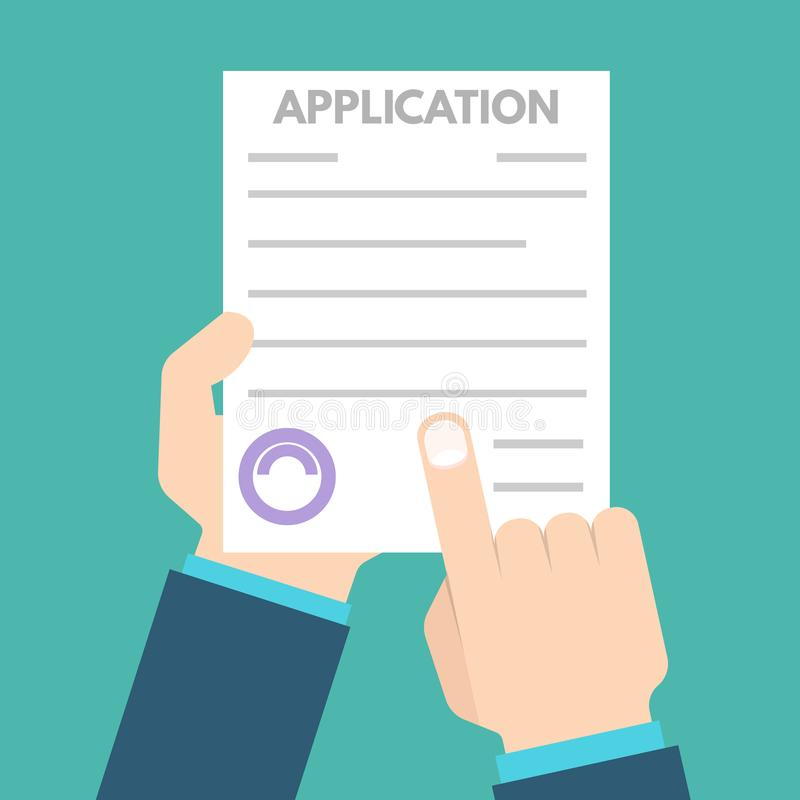 Έννοια εγγράφων αίτησης υποψηφιότητας δανείου επίσης corel σύρετε το διάνυσμα απεικόνισης ελεύθερη απεικόνιση δικαιώματος