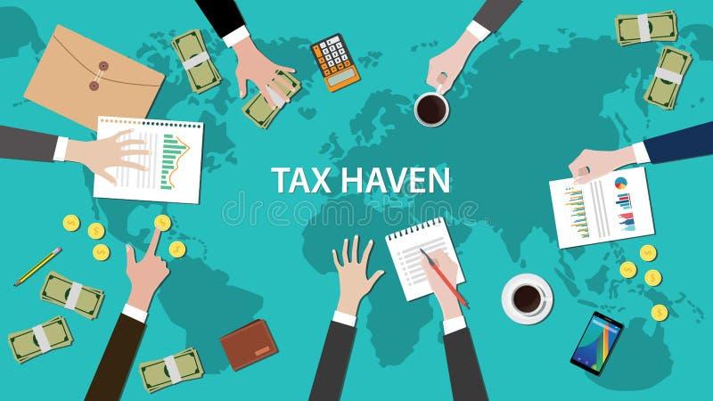 Έννοια εγγράφων του Παναμά φορολογικών παραδείσων με το έγγραφο παγκόσμιων χαρτών χρημάτων διανυσματική απεικόνιση