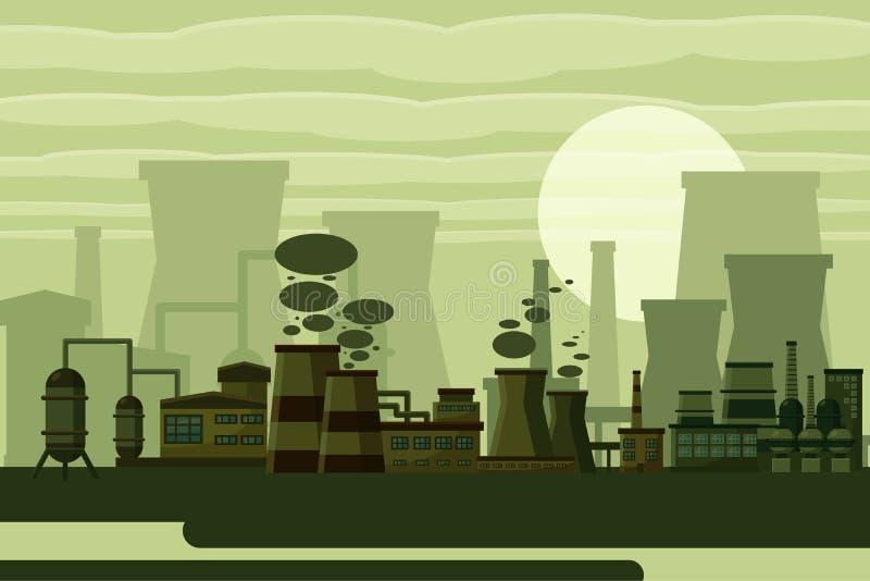 Έννοια εγκαταστάσεων θερμικής παραγωγής ενέργειας διανυσματική απεικόνιση