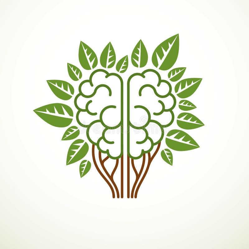 Έννοια εγκεφάλου δέντρων, η φρόνηση της φύσης, ευφυής εξέλιξη απεικόνιση αποθεμάτων