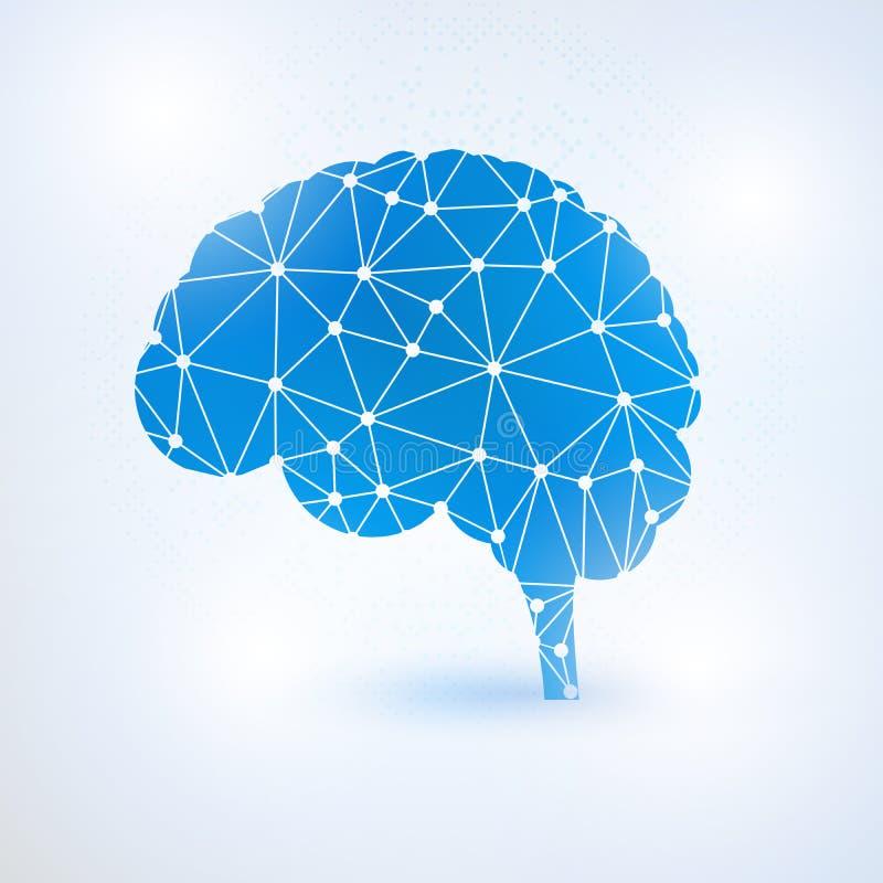 Έννοια εγκεφάλου τεχνητής νοημοσύνης με τα δυαδικά ψηφία απεικόνιση αποθεμάτων