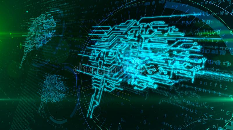 Έννοια εγκεφάλου Cyber απεικόνιση αποθεμάτων