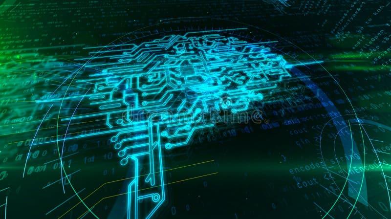 Έννοια εγκεφάλου Cyber ελεύθερη απεικόνιση δικαιώματος