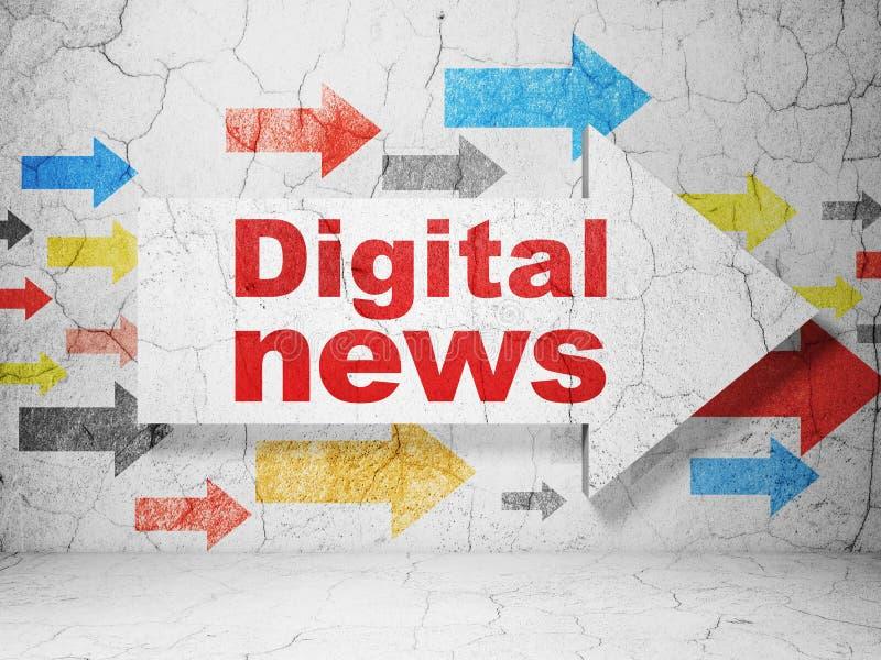 Έννοια ειδήσεων: βέλος με τις ψηφιακές ειδήσεις στο υπόβαθρο τοίχων grunge διανυσματική απεικόνιση