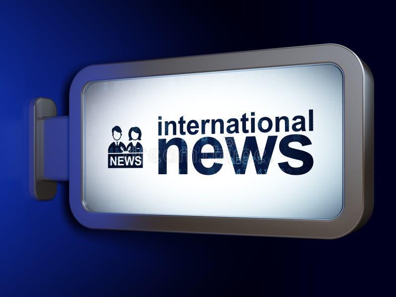 Έννοια ειδήσεων: Διεθνείς ειδήσεις και Anchorman στο υπόβαθρο πινάκων διαφημίσεων στοκ φωτογραφίες με δικαίωμα ελεύθερης χρήσης