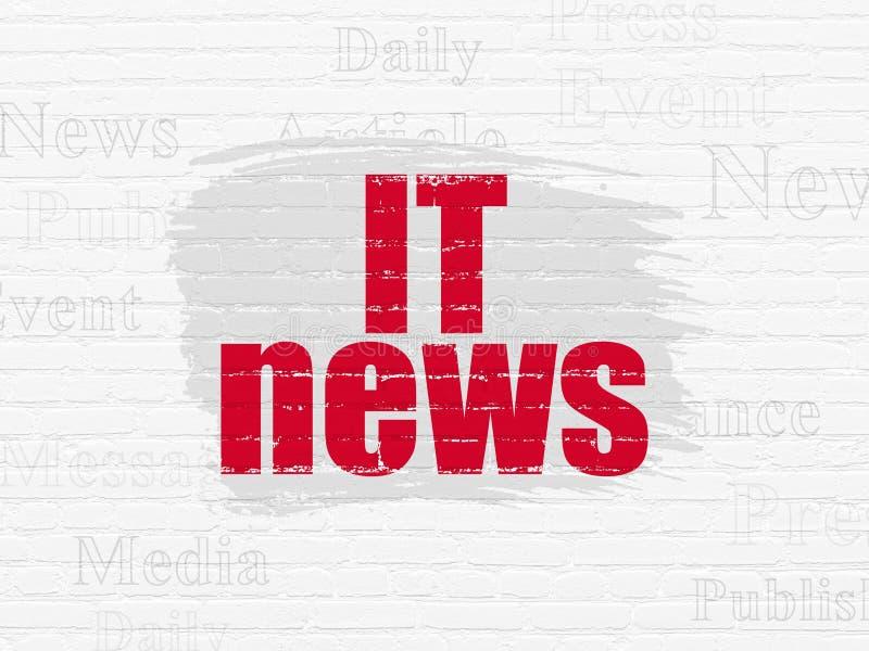 Έννοια ειδήσεων: Ειδήσεις ΤΠ στο υπόβαθρο τοίχων διανυσματική απεικόνιση