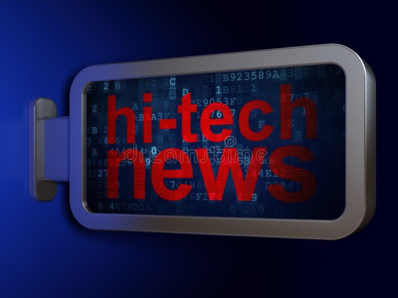 Έννοια ειδήσεων: Ειδήσεις υψηλής τεχνολογίας στο υπόβαθρο πινάκων διαφημίσεων απεικόνιση αποθεμάτων
