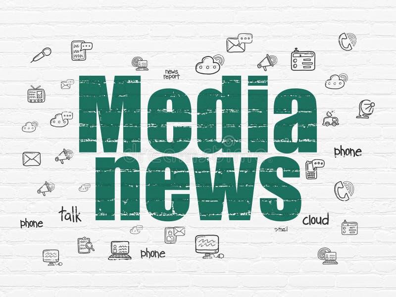 Έννοια ειδήσεων: Ειδήσεις MEDIA στο υπόβαθρο τοίχων ελεύθερη απεικόνιση δικαιώματος