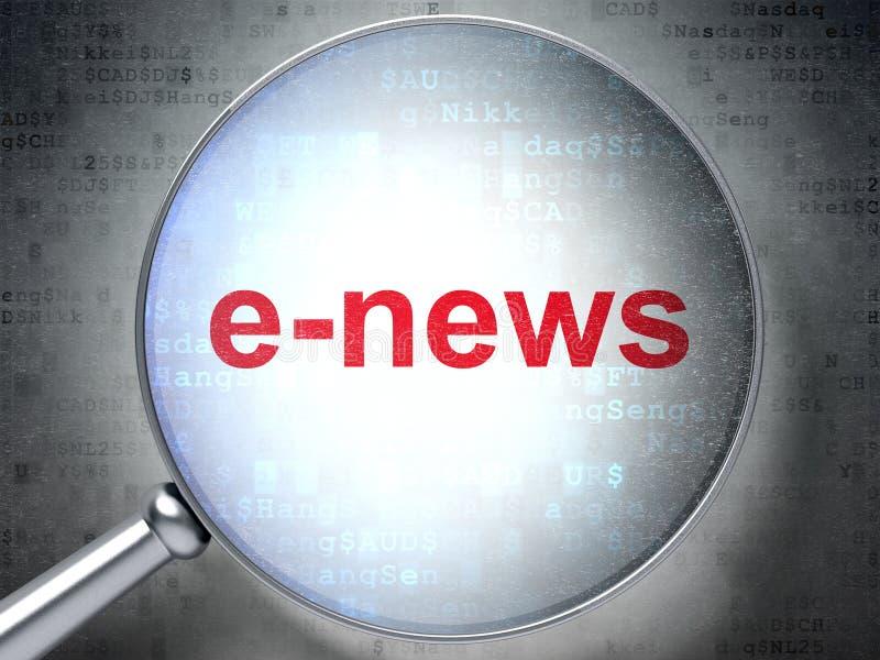 Έννοια ειδήσεων: Ε-ειδήσεις με το οπτικό γυαλί ελεύθερη απεικόνιση δικαιώματος