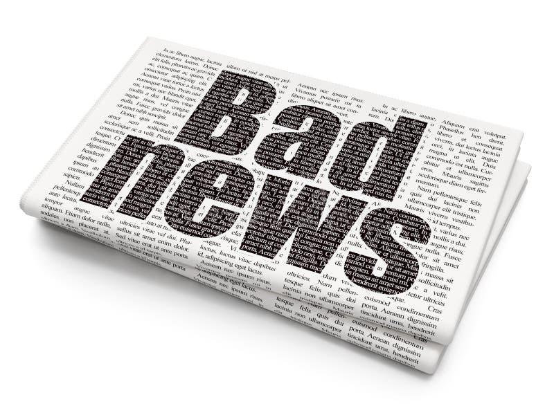 Έννοια ειδήσεων: Κακές ειδήσεις στο υπόβαθρο εφημερίδων ελεύθερη απεικόνιση δικαιώματος