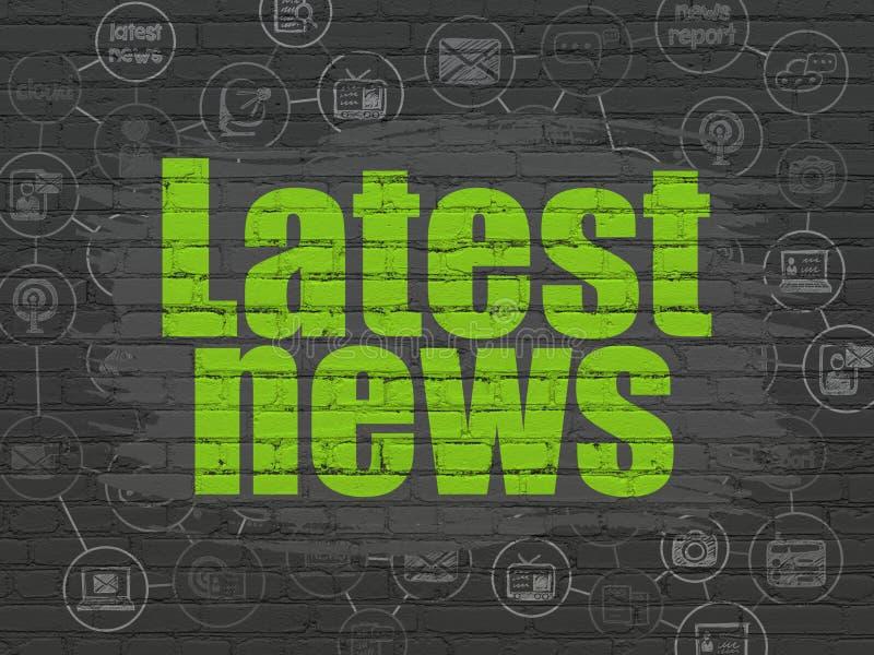 Έννοια ειδήσεων: Πιό πρόσφατες ειδήσεις στο υπόβαθρο τοίχων απεικόνιση αποθεμάτων