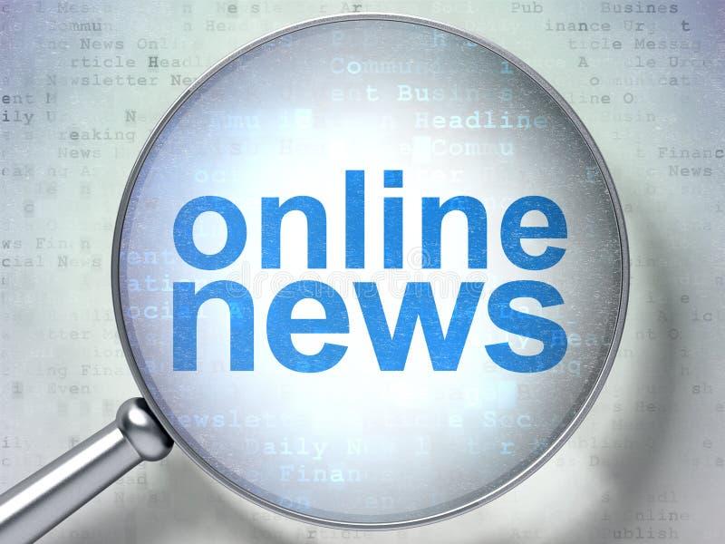 Έννοια ειδήσεων: Σε απευθείας σύνδεση ειδήσεις με το οπτικό γυαλί απεικόνιση αποθεμάτων