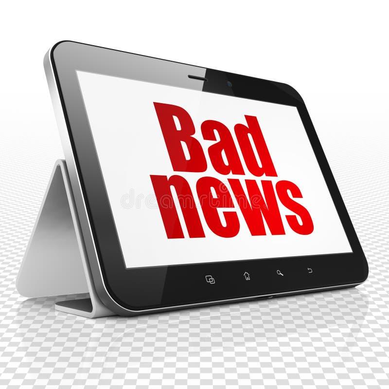 Έννοια ειδήσεων: Υπολογιστής ταμπλετών με τις κακές ειδήσεις στην επίδειξη ελεύθερη απεικόνιση δικαιώματος