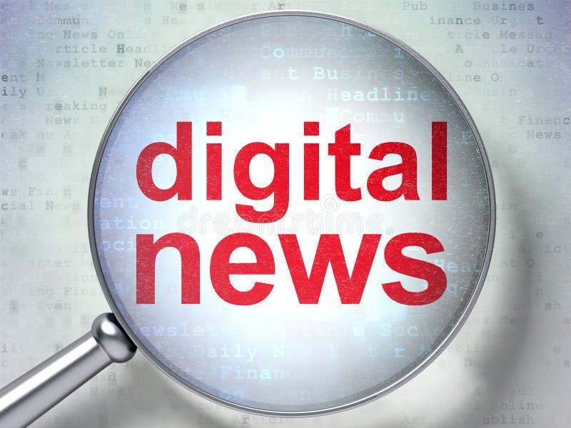 Έννοια ειδήσεων: Ψηφιακές ειδήσεις με το οπτικό γυαλί απεικόνιση αποθεμάτων
