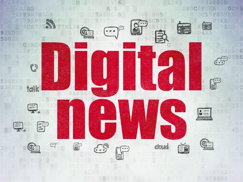 Έννοια ειδήσεων: Ψηφιακές ειδήσεις στο υπόβαθρο εγγράφου ψηφιακών στοιχείων απεικόνιση αποθεμάτων
