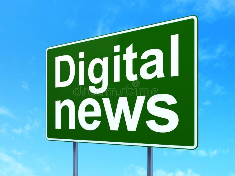 Έννοια ειδήσεων: Ψηφιακές ειδήσεις στο υπόβαθρο οδικών σημαδιών διανυσματική απεικόνιση