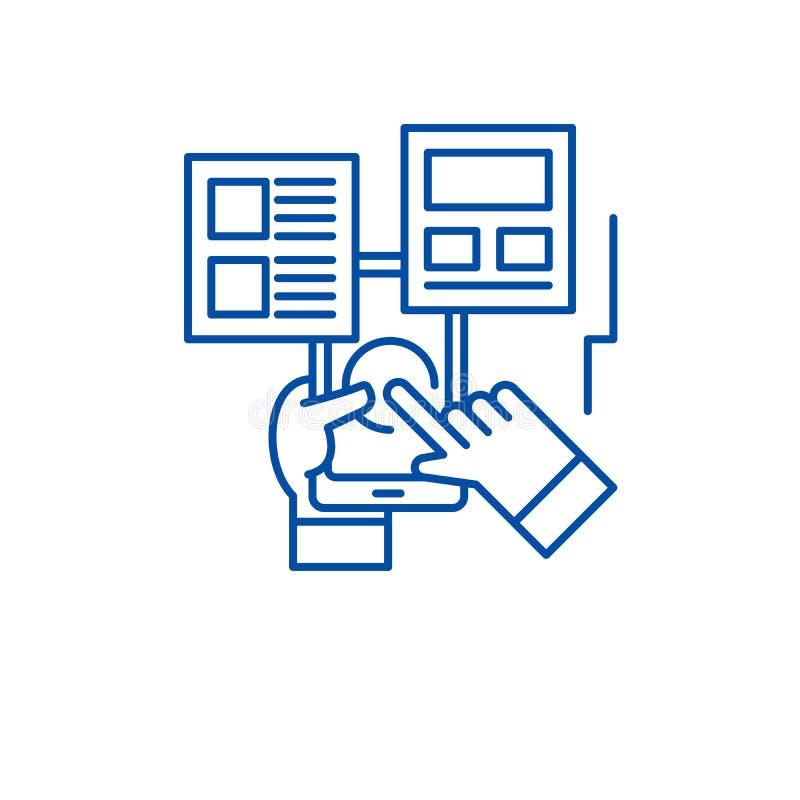 Έννοια εικονιδίων γραμμών αλληλεπίδρασης χρηστών Επίπεδο διανυσματικό σύμβολο αλληλεπίδρασης χρηστών, σημάδι, απεικόνιση περιλήψε απεικόνιση αποθεμάτων