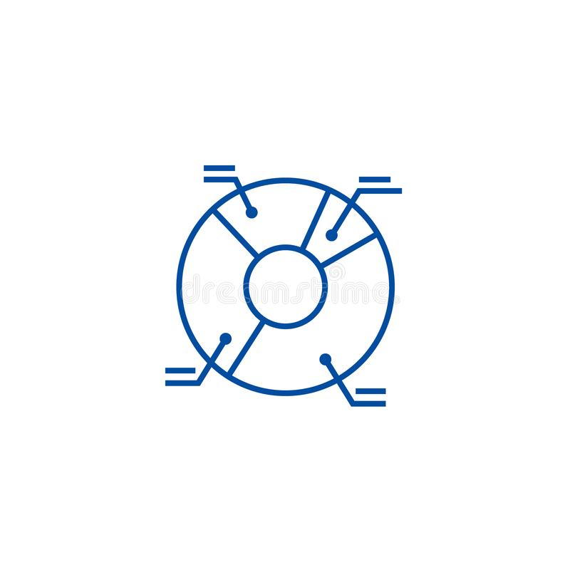 Έννοια εικονιδίων γραμμών απεικόνισης διαγραμμάτων πιτών Επίπεδο διανυσματικό σύμβολο απεικόνισης διαγραμμάτων πιτών, σημάδι, απε διανυσματική απεικόνιση