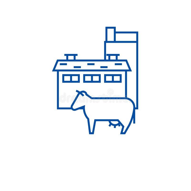 Έννοια εικονιδίων γραμμών βιομηχανίας γάλακτος Επίπεδο διανυσματικό σύμβολο βιομηχανίας γάλακτος, σημάδι, απεικόνιση περιλήψεων διανυσματική απεικόνιση