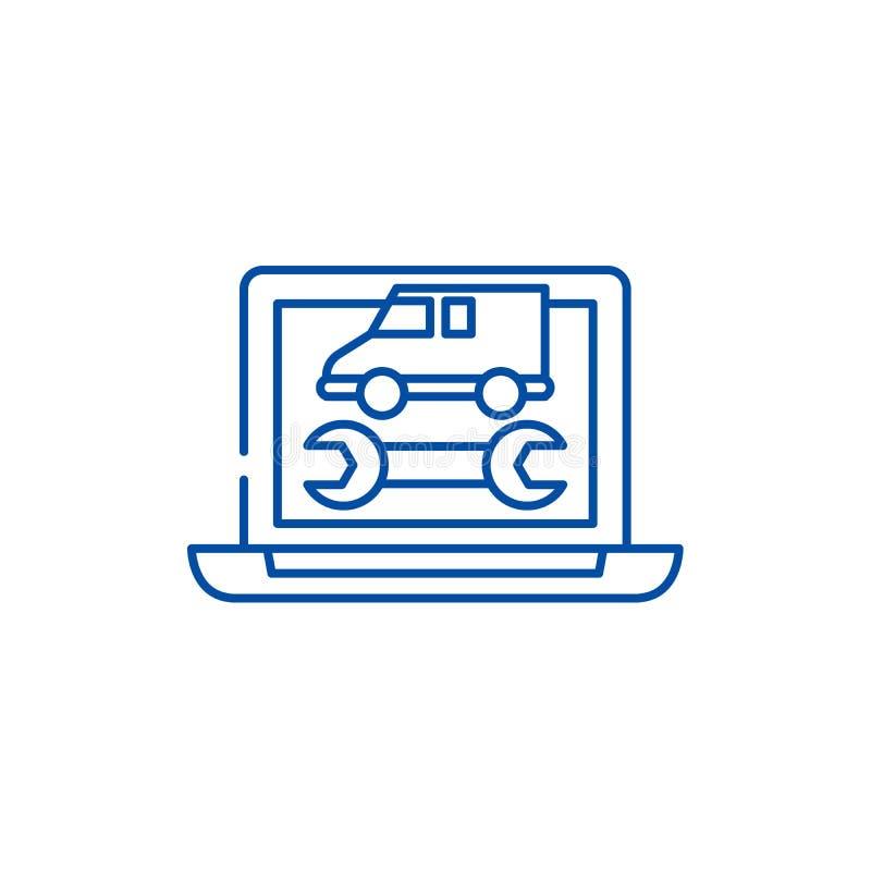 Έννοια εικονιδίων γραμμών διαγνωστικών υπολογιστών Επίπεδο διανυσματικό σύμβολο διαγνωστικών υπολογιστών, σημάδι, απεικόνιση περι απεικόνιση αποθεμάτων