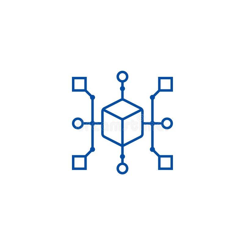 Έννοια εικονιδίων γραμμών διαγραμμάτων συστάδων Επίπεδο διανυσματικό σύμβολο διαγραμμάτων συστάδων, σημάδι, απεικόνιση περιλήψεων διανυσματική απεικόνιση