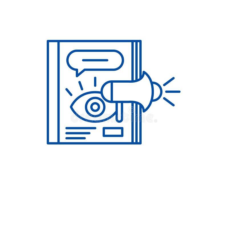 Έννοια εικονιδίων γραμμών διαφήμισης περιοδικών Περιοδικό που διαφημίζει το επίπεδο διανυσματικό σύμβολο, σημάδι, απεικόνιση περι απεικόνιση αποθεμάτων