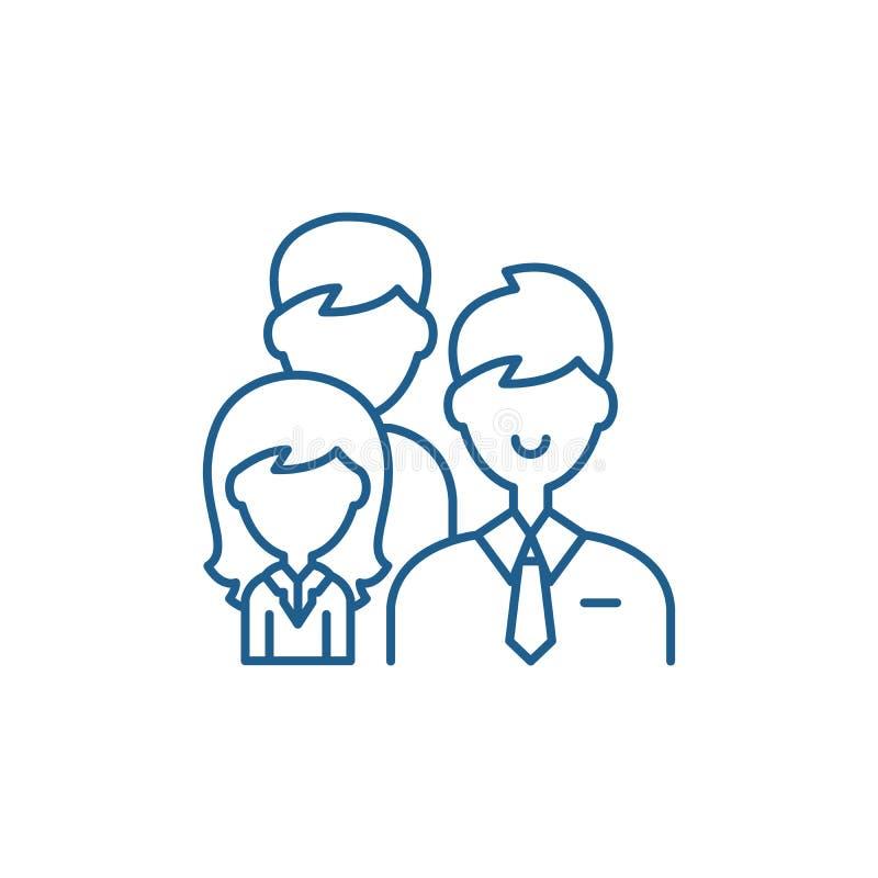 Έννοια εικονιδίων γραμμών ηγεσίας ομάδας Επίπεδο διανυσματικό σύμβολο ηγεσίας ομάδας, σημάδι, απεικόνιση περιλήψεων διανυσματική απεικόνιση