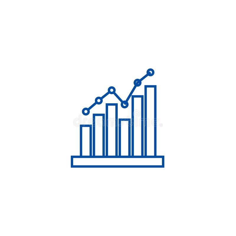 Έννοια εικονιδίων γραμμών ιστογράμμων Επίπεδο διανυσματικό σύμβολο ιστογράμμων, σημάδι, απεικόνιση περιλήψεων απεικόνιση αποθεμάτων