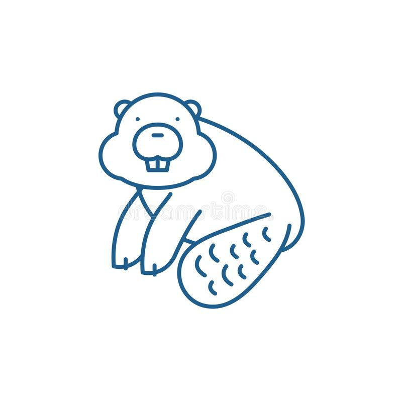 Έννοια εικονιδίων γραμμών καστόρων Επίπεδο διανυσματικό σύμβολο καστόρων, σημάδι, απεικόνιση περιλήψεων διανυσματική απεικόνιση