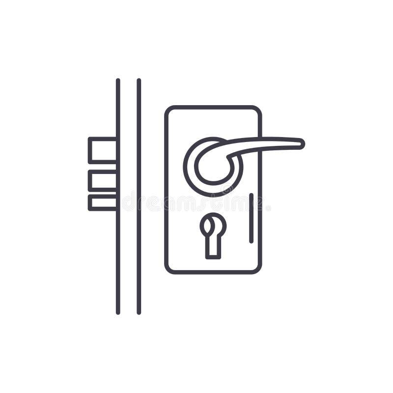 Έννοια εικονιδίων γραμμών κλειδαριών πορτών Διανυσματική γραμμική απεικόνιση κλειδαριών πορτών, σύμβολο, σημάδι απεικόνιση αποθεμάτων
